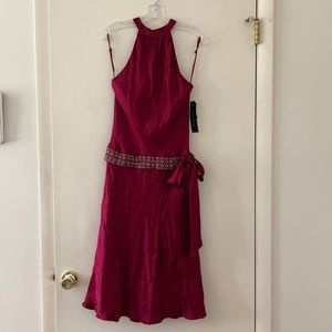 🍷Burgundy halter satin tie over cocktail dress🍷